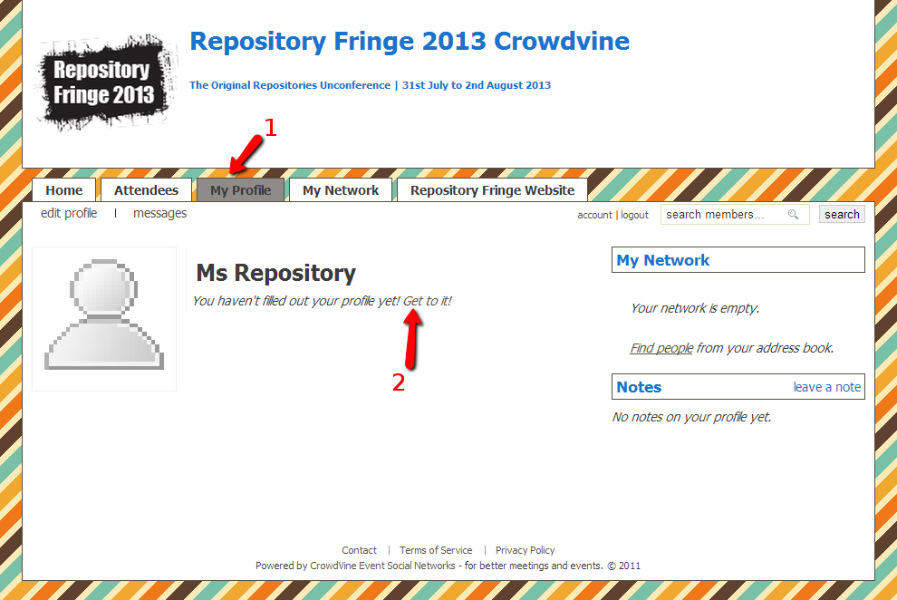 Screengrab of the Crowdvine Profile Page
