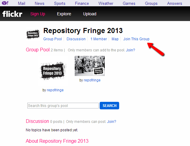 Screengrab of the Repository Fringe Flickr group