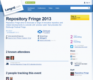 Image of the Repository Fringe Lanyrd Presence.