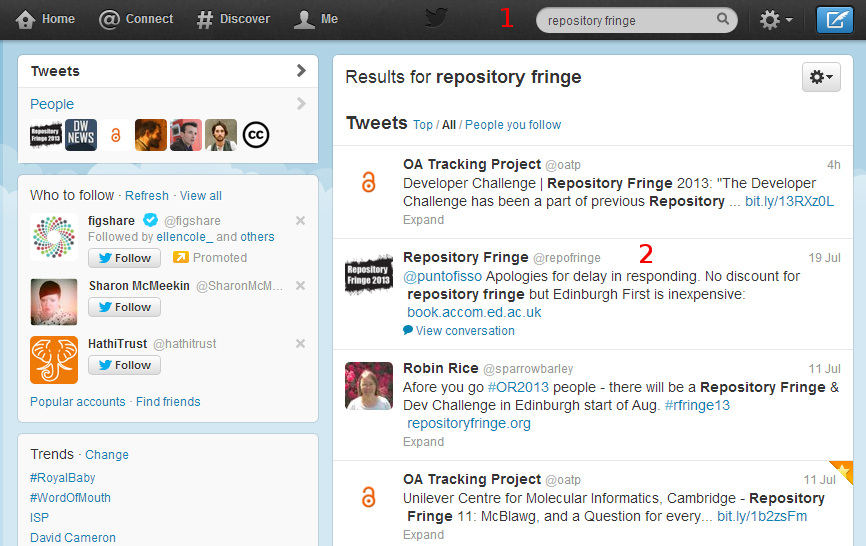 Image showing how to search for and find the Repository Fringe Twitter account
