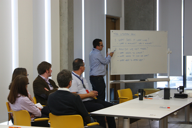 Dominic Tate with participants in the Open Access and Academia Round Table